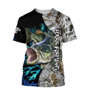 Bass with winter camo Fishing T Shirt All Over Print